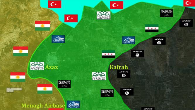 Lực lượng dân quân người Kurd bao vây thành phố Azaz ở Bắc Aleppo