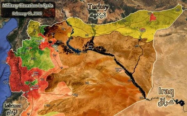 Tình hình phân bổ lực lượng trên chiến trường Syria đến ngày 13.02.2016