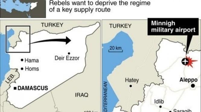 Vị trí sân bay chiến lược quân sự Minnigh, nơi Thổ Nhĩ Kỳ pháo kích