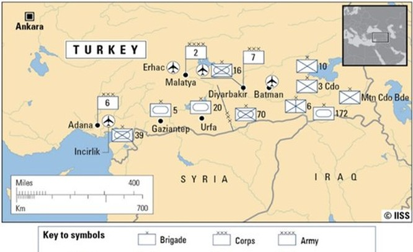 Phân bổ lực lượng Quân đội Thổ Nhĩ Kỳ trên biên giới Syria