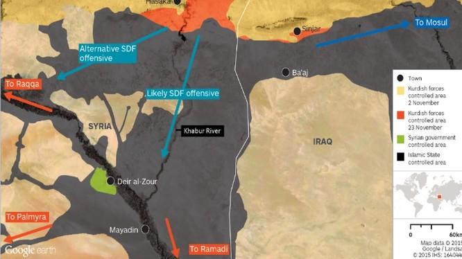 Hướng hoạt động chủ yếu của lực lương SDF Syria
