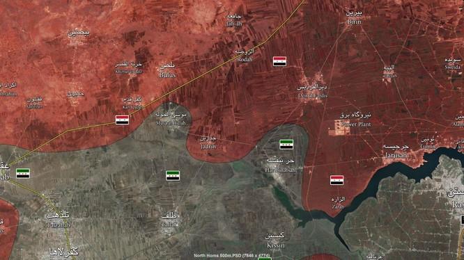Bản đồ phân bổ lực lượng khu vực tỉnh Homs và Hama