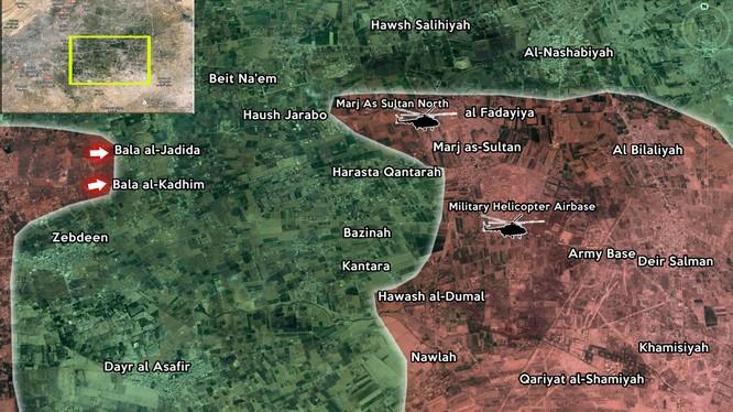 Bản đồ khu vực Đông Ghouta, Damascus.