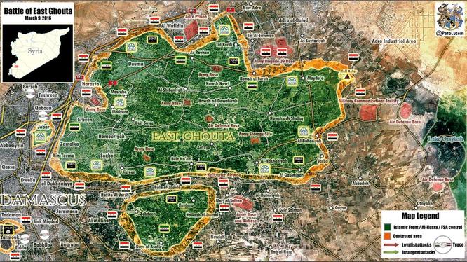 Lực lượng Al-Nusra bị bao vây, chia cắt ở Đông Ghouta, Damascus