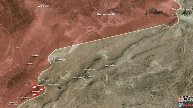 Quân đội Syria giải phóng một đỉnh núi gần Qaryatayn