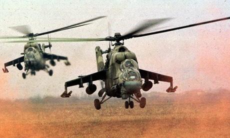 Cận cảnh: Cá sấu bay Mi-24 không kích khủng bố IS trên chiến trường Palmyra