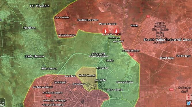 Quân đội Syria tấn công quận Trại Handarat, ngoại ô thành phố Aleppo