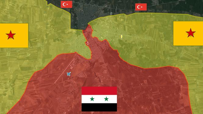 Bản đồ Qamishli, phân bổ lực lượng Syria - Kurd đến 01.05.2016 2016