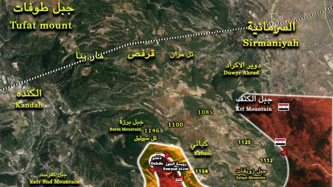 Bản đồ cuộc tiến công vào Làng Kabani, phía đông bắc Latakia