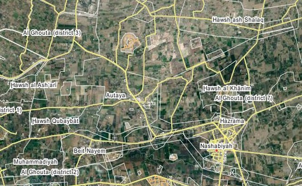 Bản đồ vụ không kích đêm của không quân Syria