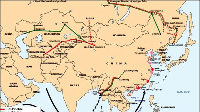 Hành lang vận tải thương mại của Trung Quốc trên biển và trên bộ