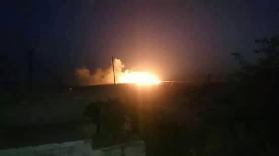Một hình ảnh tập kích hỏa lực của không quân Nga, Syria tại thành phố Aleppo