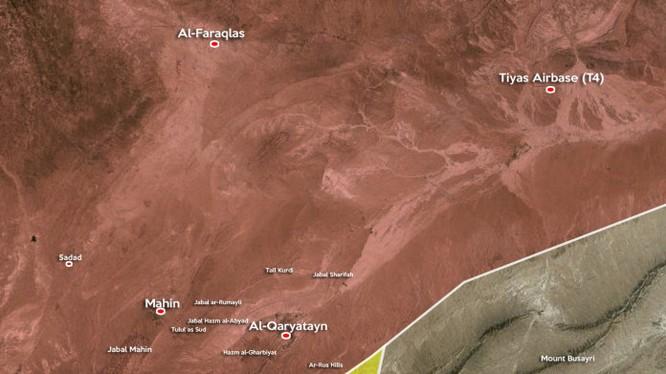 Bản đồ khu vực chiến sự gần thành phố cổ quân đội Syria, IS, tỉnh Homs, thành phố cổ al- Qaryatayn, tỉnh Homs