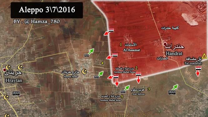 Bản đồ tình hình chiến sự Băc Aleppo