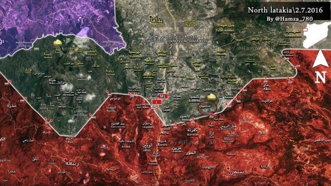 Bản đồ chiến sự Kinsiba, tỉnh Latakia