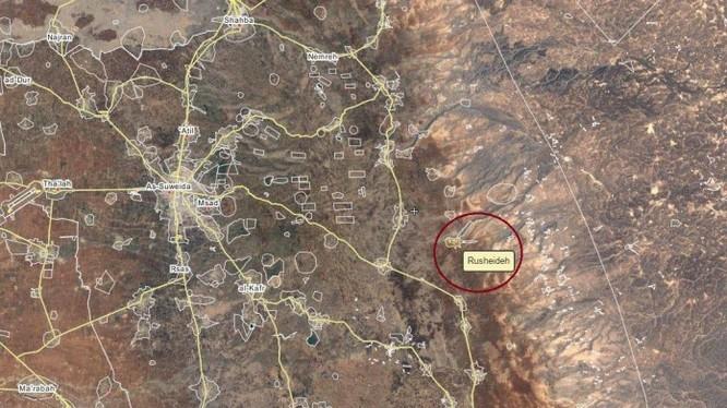 Bản độ vị trí đoàn xe vận tải nhiên liệu của IS bị tấn công