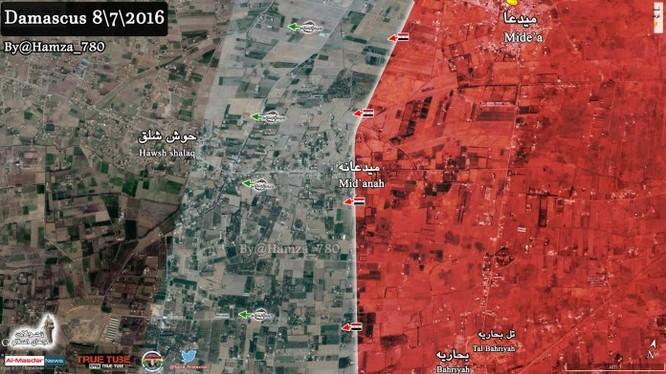 Bản đồ chiên sự ngoại vi thị trấn Maydaa, Damascus