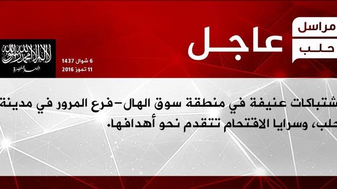 Trang truyền thông của Jabhat Al-Nusra thông báo về cuộc tấn công vào nội thị Aleppo