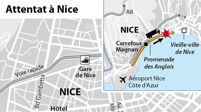 Sơ đồ vụ tấn công bằng xe tải đấm máu tại Nice, trên đường ven sông đường ven sông Promenade des Anglais