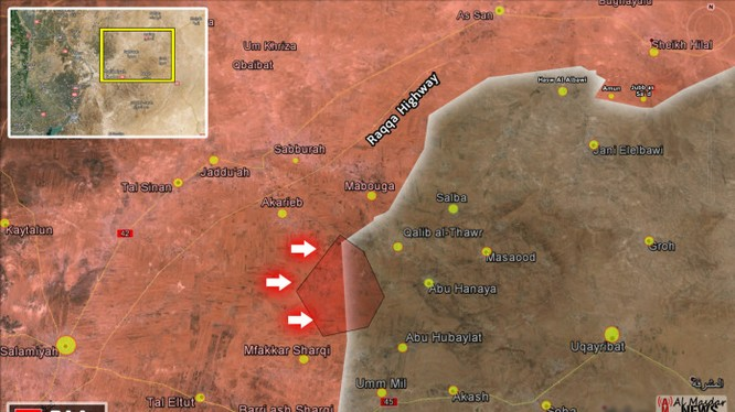 Bản đồ chiến sự sư đoàn tăng số 11 trên tỉnh Hama