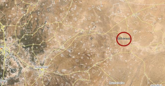 Khu vực diễn ra trận phục kích gần thành phố Salamiyah