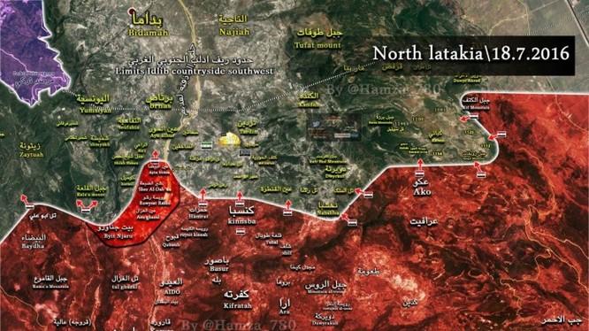 Bản đồ chiến sự Latakia ngày 18.07.2016