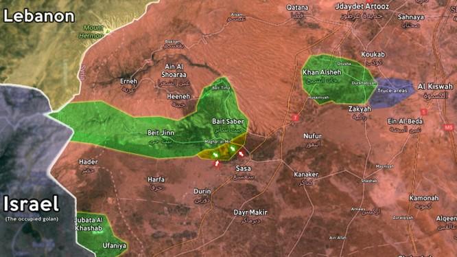 Bản đồ tình hình chiến sự phía nam tỉnh Quneitra