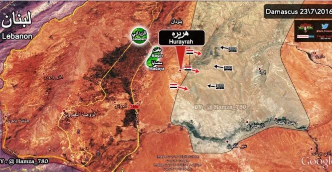 Bàn đồ trận chiến giành thị trấn Hurayrah, ngoại ô Damascus mở rộng
