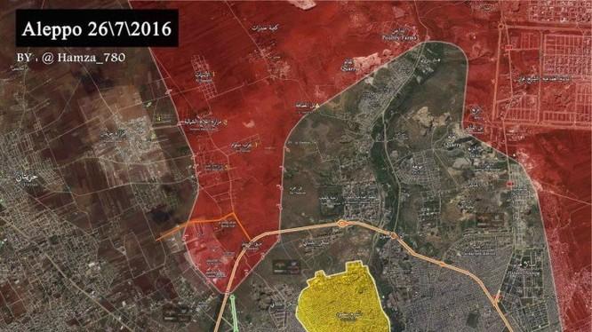Bản đồ phần diện tích cuối cùng của lực lượng Hồi giáo cực đoan trước khi quân đội Syria hoàn toàn đóng cửa Aleppo