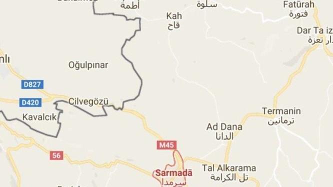 Bản đồ thị trấn Sarmada thuộc tỉnh Idlib