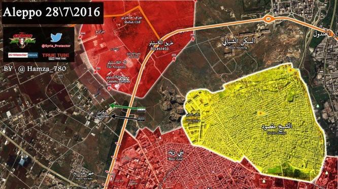 Bản đồ Aleppo ngày 28.07.2016