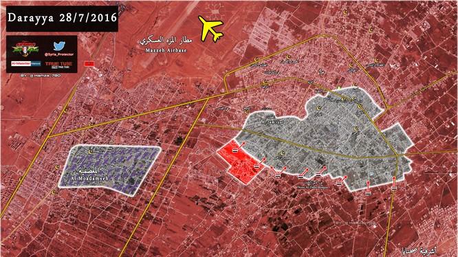Bản đồ chiến sự thành phố vệ tinh Darayya