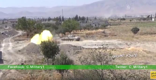 Xe thiết giáp quân đội Syria Syria tấn công tại thị trấn Hawsh Al-Fara