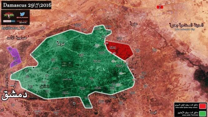 Bản đồ tình hình chiến sự vùng Đông Ghouta, ngôi làng Hawsh Al Farah