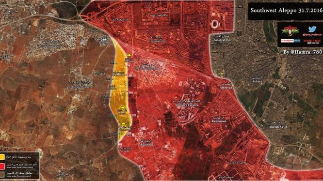 Bản đồ chiến sự thành phố Aleppo ngày 01.08.2016
