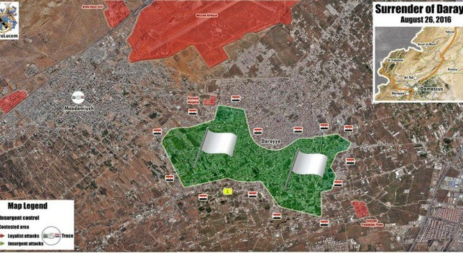 Bản đồ chiến sự thành phố vệ tinh Darayya ngày 26.08.2016