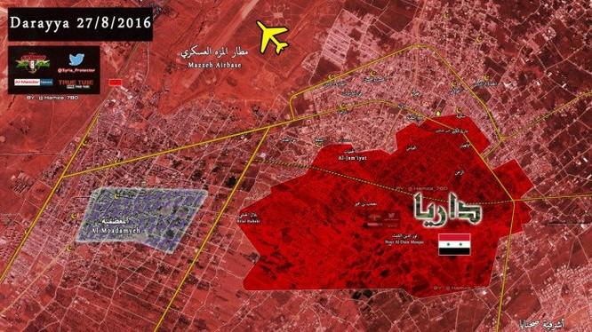 Bản đồ chiến sự khu vực ngoại ô thành phố Damascus