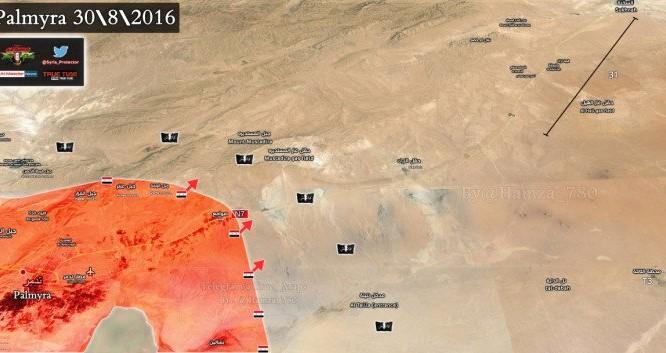 Bàn đồ chiến sự Palmyra ngày 30.08.2016