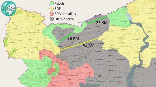 Bản đồ tình hình chiến sự Aleppo, khu vực Thổ Nhĩ Kỳ và người Kurd