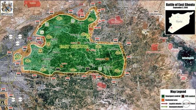 Bản đồ chiến sự vùng Đông Ghouta, Damascus