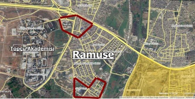 Các khu vực quân đội Syria tấn công trên quân Ramousah