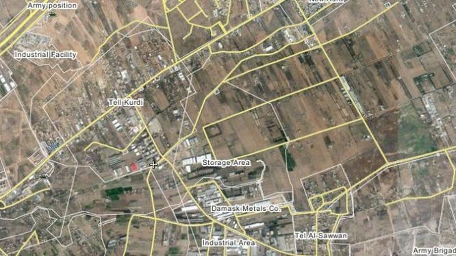 Bản đồ cao điểm Tal Sawwan và cao điểm Tal - Kurdi trên vùng Đông Ghouta, ngoại ô thành Damascus