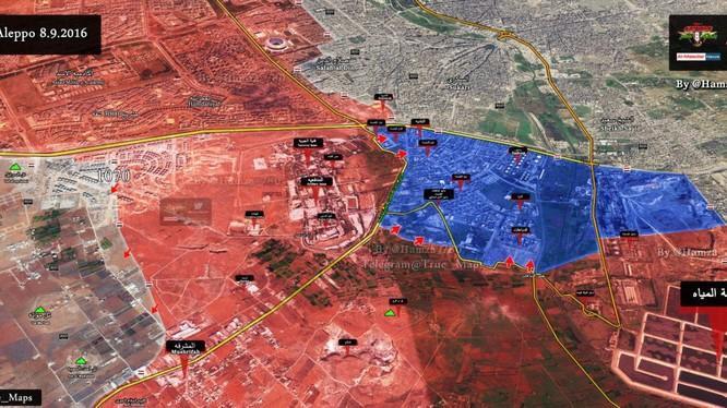 Bản đồ chiến sự thành phố Aleppo ngày 08.09.2016