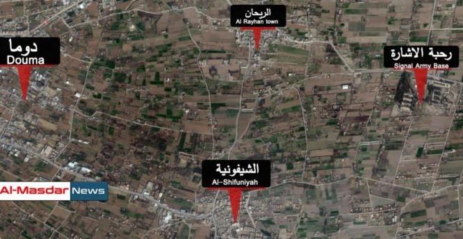 Bản đồ bố trí binh lực của lực lượng Hồi giáo cực đoan ở Đông Ghouta.