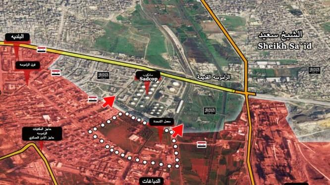 Bản đồ chiến sự thành phố Aleppo, khu vực phía Tây Nam thành phố Aleppo