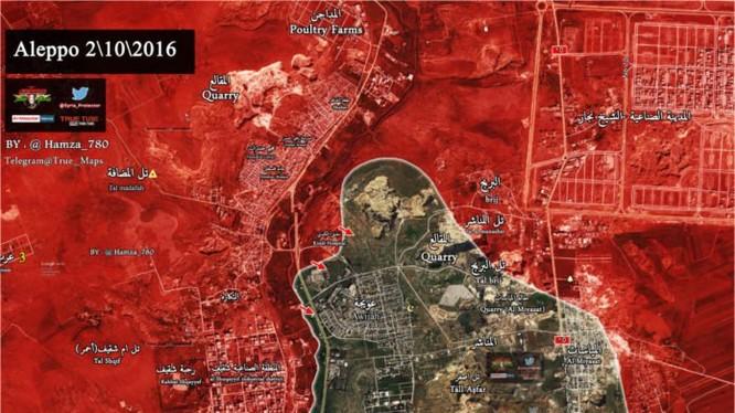 Bản đồ chiến sự thành phố Aleppo ngày 02.10.2016