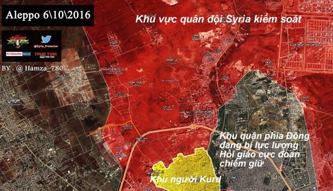 Bản đồ chiến sự thành phố Aleppo ngày 06.10.2016