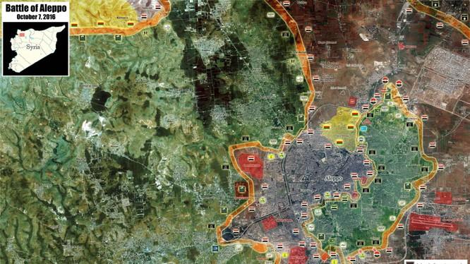 Bản đồ chiến sự thành phố Aleppo ngày 07.10.2016
