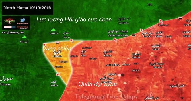 Bản đồ chiến sự tỉnh Hama.