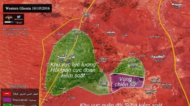 bản đồ tính hình chiến sự trên vùng Tây Ghouta
